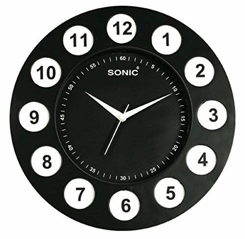 Sonic Black Round Plastic Analogue Quartz