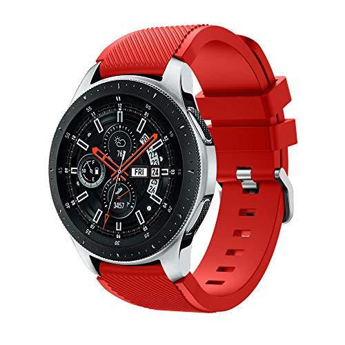 Kompatibel mit Galaxy Watch 46mm Armband, 22mm Silikon Ersatzarmband Fitness Uhrenarmband Sportarmband Sport Ersatz Strap Silikonarmband Sport Band für Samsung Galaxy Watch 46mm (Rot)