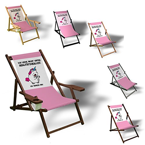 Einhorn - Realitätsverlust - Liegestuhl bedruckt Balkon Garten Sonnenliege Relax Holz Terrasse | Variante:mit Armlehne, Dunkelbraun