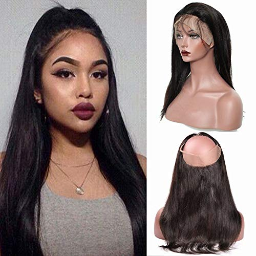 Lace Frontal Closure 360 Tissage Bresilien Lisse Top Lace Closure - Tissage Meches Bresiliennes Extension en Cheveux Naturel (#1B Noir Naturel, 16\