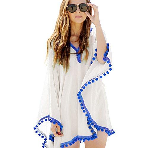 Eastlion Mantel Baumwollkugeln Bikini Strand Rock Bluse Strand Chiffon Badeanzug Aufdecken Weiß