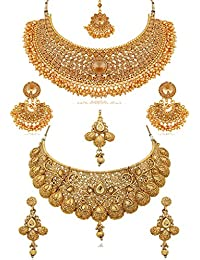 REEVA Pearl Gold Plated Jewellery Set for Women - Combo Pack