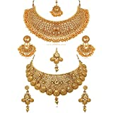 #7: REEVA Pearl Gold Plated Jewellery Set for Women - Combo Pack