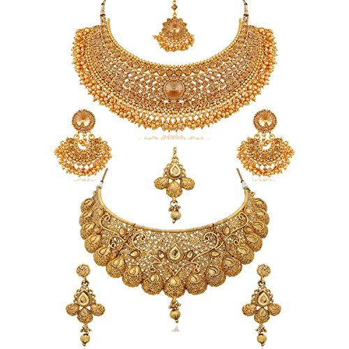 Reeva Combo Necklace and Earring Traditional Wedding and Party Wear Jewellery Set for Women/Girls (Pearl)