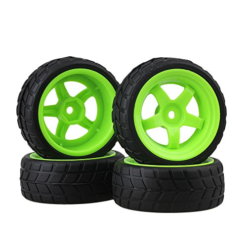 BQLZR RC 1: 10 Racing Flat Car Plastic Green Wheel Rims&Rubber Tires Pack of 4 (1 Felgen 10 Rc Car)