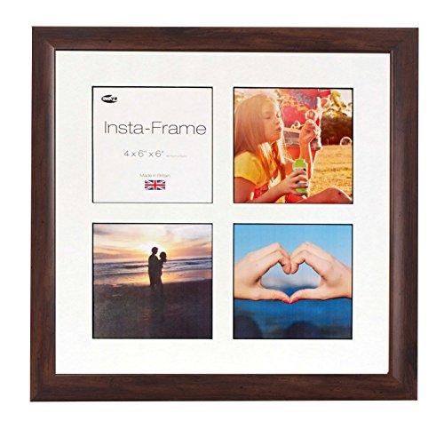 Inov8 16 x 16 Insta-Frame-Bilderrahmen für 4 Fotos, quadratisch, Instagram, mit weißem Passepartout und schwarzem Einsatz, Walnuss -