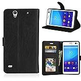 zl one Telefono Caso per Sony Xperia C4 E5303 E5306 E5353 Case,PU Custodia In Pelle 3 Carte Slot Credito Flip Cover Case Chiusura Magnetica-Nero