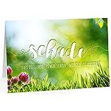 Große Abschiedskarte XXL (A4) schade - Blumenwiese - Persönlich mit Umschlag/Edle Design Klappkarte/Rente/Pension/Ruhestand/Verabschiedung/Letzter Arbeitstag/Gruß-Karte für Kollegen