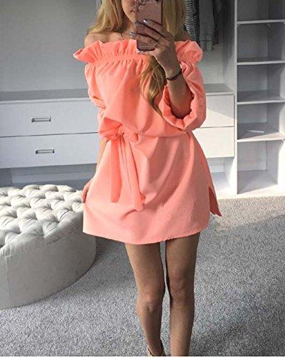 SaiDeng Femme Robe Elégante Courte Baggy Lâche Tunique Robe De Cocktail Orange
