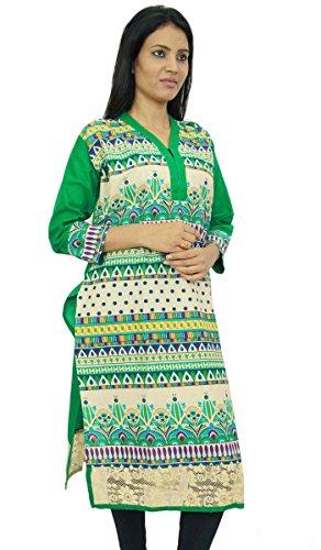 geometrischen Druck lange kurti Kleid voller Hülsenfrauen Maxi Sommerabnutzungskleid Tunika Grün