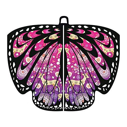 Zylione Damen Schmetterling Weihnachts Kostüm Faschingkostüme Schal Flügel Nymphe Pixie Kostüm Cosplay Weihnachten Karneval Kostüm Poncho Umhang für Party Weihnachten