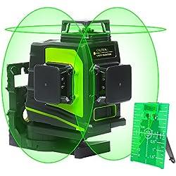 Huepar GF360G 3 x 360 Niveau Laser Croix Vert, Ligne Laser Auto-nivellement avec Mode Pulsé Extérieur, Distance de Travail 25m, Port de charge USB, Pile au lithium et Support magnétique Incluse