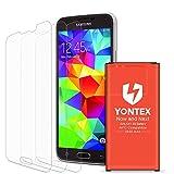 YONTEX Akku für Samsung Galaxy S5, NFC/Google Wallet, Ersatzakku 2800mAh für S5 und S5 Active mit 3 Pack Displayschutzfolie [i9600, G870 A, G900 V, G900 A, G900T, G900P]