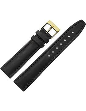 MARBURGER Uhrenarmband 18mm Leder Schwarz - Rindsleder - Inkl. Zubehör - Ersatzarmband, Schließe Gold - 2891810000220