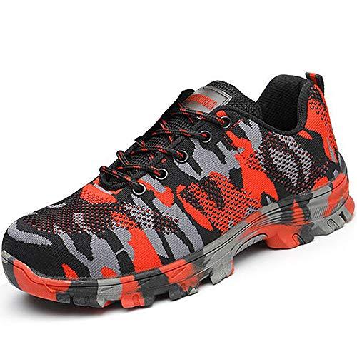SUADEEX Damen Herren Sicherheitsschuhe Sportlich Trekking Wanderhalbschuhe Stahlkappe Arbeitsschuhe Hiking Schuhe Traillaufschuhe, Rot, 39 EU