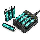 RAVPower Batterieladegerät Akku Ladegerät USB für AA/AAA und AA Batterien NI-MH Wiederaufladbar (1.000 Zyklen, 8er Pack)