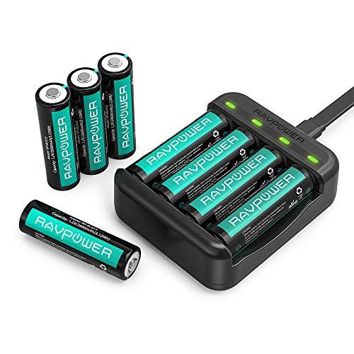 RAVPower Batterieladegerät Akku Ladegerät USB für AAA und AA Batterien NI-MH Wiederaufladbar (1.000 Zyklen, 8er Pack)