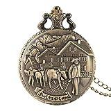 LQHBXX Taschenuhr Herren Taschenuhr Retro Bronze Schweiz Design Taschenuhren 3D Cattle Quarzt Fob Halskette Anhänger Uhren für Männer
