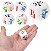 Y56 Housework Dices - Set of 5 Funny Home Dice Couples Families Housework Distribution Dice Fun Game Gifts for Kids Education Learn to Do Household Duties Chores