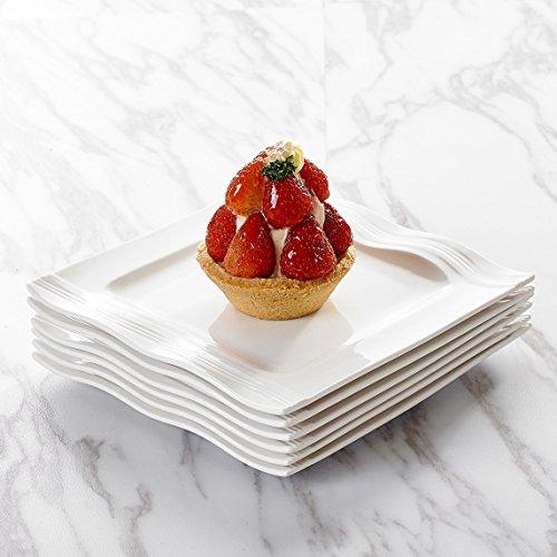 MALACASA, Serie Mario, 12 teilig Set Cremeweiß Porzellan Kuchenteller Dessertteller Frühstücksteller 7,25 Zoll / 18,5x18,5x2cm für 12 Personen