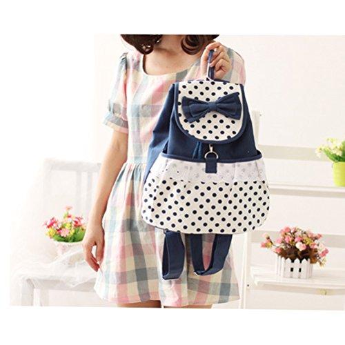 Inwagui Mädchen Damen Canvas Satchel Rucksack Laptop Schultasche Rucksäcke School Bag lässig Tasche Daypack-Kaffee Blau