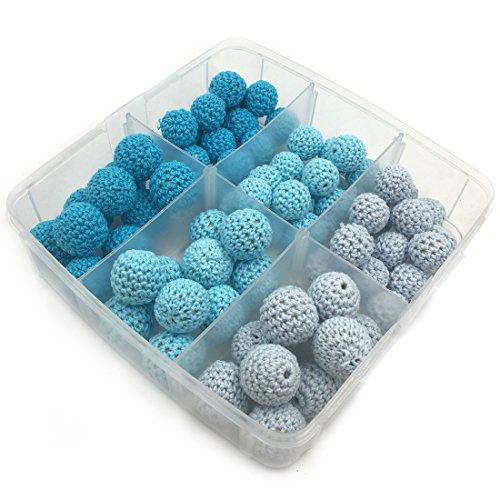 Coskiss 75pcs granos azules serie ganchillo granos