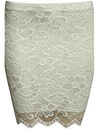 PILOT® Women's Scallop Edge Lace Mini Skirt in Cream