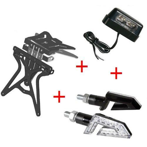 Kit für Motorrad Kennzeichenhalter UNIVERSAL + 1Paar Blinker + Kennzeichenbeleuchtung Lampa genehmigten Yamaha FZ6FAZER S26002006–2011