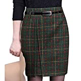 Wincolor Damen Hoher Bund Wolle Plaid Checked Midi Büro Geschäft Bleistift Tartan Rock Wear to Work