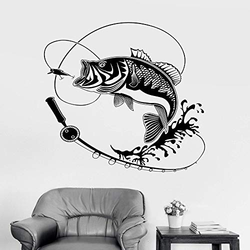 YuanMinglu Hauptdekoration Vinyl wandaufkleber Mural Applique Fisch angelrute Hobby innentapete schwarz 57x57cm