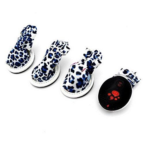ranphy Kleiner Hund Schuhe für weiblich männlich Walking Leopard Druck Hund Sandalen Schuh Paw Schützen Sommer (Sandalen Moda Leopard)