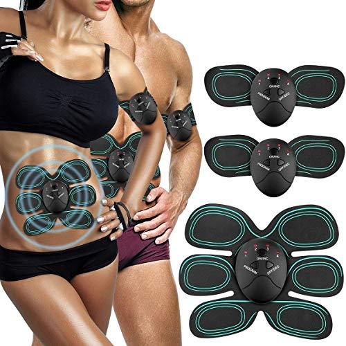 AUKUYEE Muskelstimulation Elektrostimulation, EMS Bauchmuskeltrainer, Elektrischer Muskelstimulation, Muskelstimulator, Elektroden Pads, Massagegerät,für Herren Damen