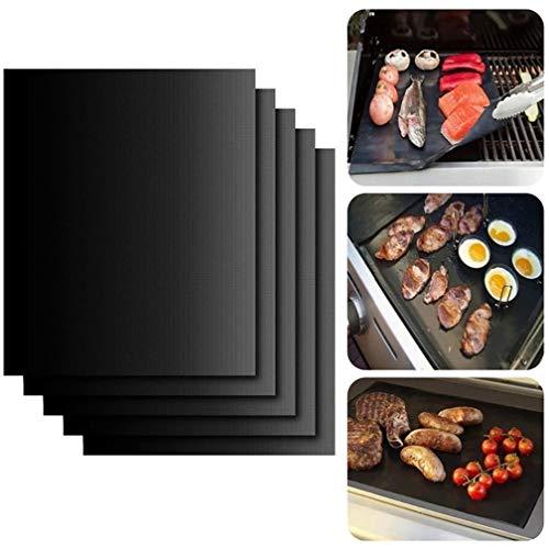 Yeying123 5 Stück BBQ Grill Mat FDA Zertifiziert Non-Stick wiederverwendbar und Backgitter für Indoor Outdoor BBQ arbeitet auf Gas Holzkohle Electric Grill Sheets 40x33cm, schwarz