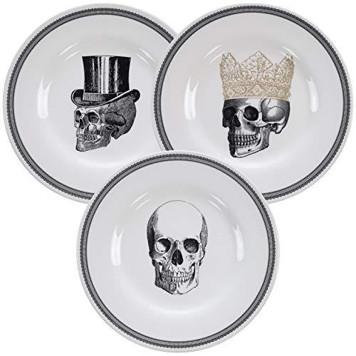 Homelab | Motiv Skull | 3 Teller Set Ø 21 cm mit Totenkopf | 3-tlg. mit 3 Totenschädel Designs | Speiseteller aus Porzellan mit Skelett Kopf, handgemacht | Farben Weiß, Schwarz & Gold (Einfaches Fingerfood Für Halloween-party)