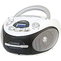 Majestic AH 2387R MP3 USB - Boom Box Portatile con Lettore CD/Mp3, Ingresso USB, Registratore Cassetta, Presa Cuffie, Bianco