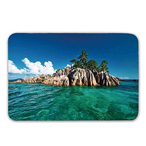 Kinhevao Insel-Haustürmatte, St. Pierre Island at Seychelles Natural Granite Relaxation Mediterrane Fußmatte für drinnen oder draußen Seychelles Natural