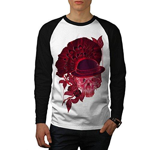 Rot Schädel Blume Natur Men M Baseball LS T-shirt | (Kostüm Geist Ls)