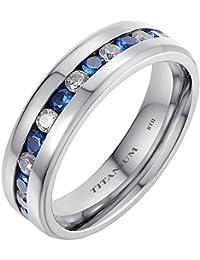 Titanium Unisex 6mm Titanium Ring With Simulated Blue Sapphire Classic Wedding Engagement Band Ring
