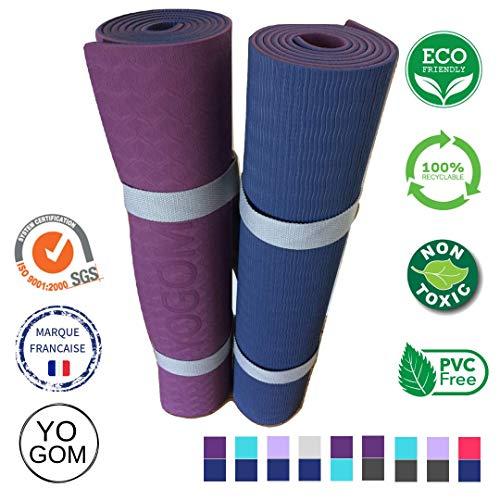 YOGOM.FR Tapis de Yoga Non Toxique et Anti-dérapant : Marque française, qualité Premium, écologique, épais, amortissant et...