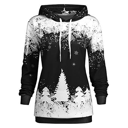 SEWORLD Weihnachten Vintage Christmas Damen Frohe Weihnachten Weihnachtsmann Weihnachten mit Kapuze Drucken Langarm Sweatshirt Bluse(X5-schwarz,EU-38/CN-L)