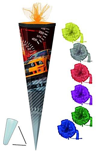 Unbekannt Schultüte - Auto Sportwagen - orange schwarz - 50 cm - rund - incl. Schleife - Tüllabschluß - mit / ohne Kunststoff Spitze - Zuckertüte - für Jungen - Autos R.. -