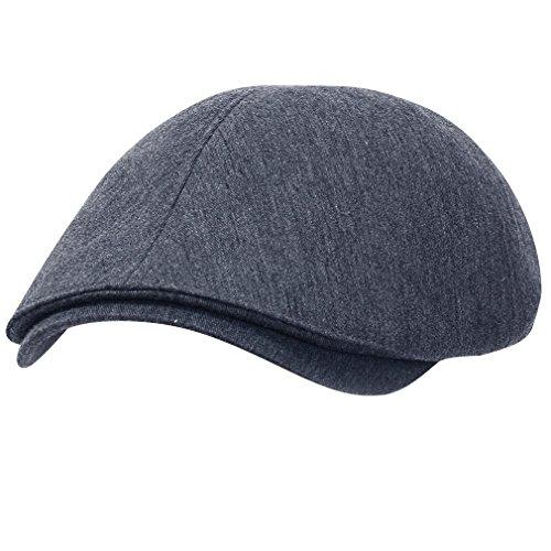 Ivy Golf Cap (ililily Schirmmütze: besteht aus 100% Baumwolle, verfügbar in vielen Farben, Flat Cap, Cabbie (Chauffeurmütze), Gatsby/Ivy Stil, irische Golfermütze, Schiebermütze (One Size, Blue Grey))