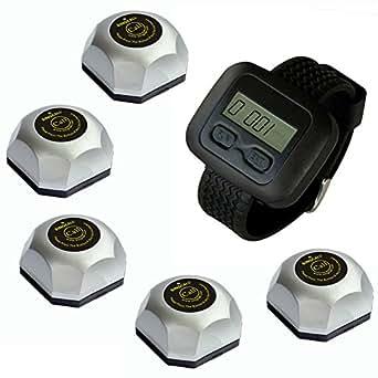 SINGCALL appel de docteur, appel de serveur, ce priduit comprend 1 montre, 5 appeleurs(APE560)
