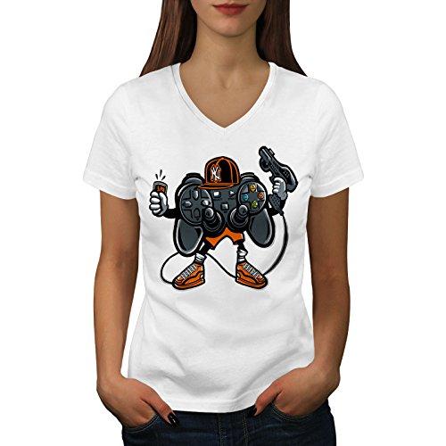 wellcoda Cool Joystick Nerd Gaming Frau XL V-Ausschnitt T-Shirt