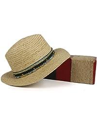 YongYeYaoBEN Sombreros de Sol para Mujer 2018 Panama Hat Rafia sraw Sombrero  de Verano Sombrero de Mujer con Borla Cinta Decorativa (Color… 1ddca879370