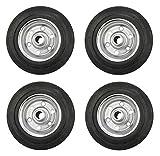 4er Set Vollgummi-Rad, verschiedene Größen, verzinkte Stahlfelge, schwarz (200)
