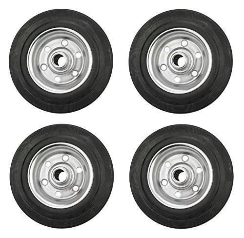 4er Set Vollgummi-Rad, verschiedene Größen, verzinkte Stahlfelge, schwarz (160)
