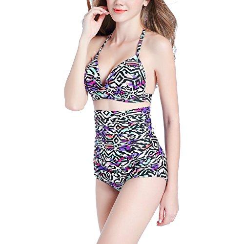 Desshok Donna Bikini Costume Costumi da Bagno Stampa Leopardo Tops con Vita Alta Bikini Set Swimwear Swimsuit Beachwear Color Leopard