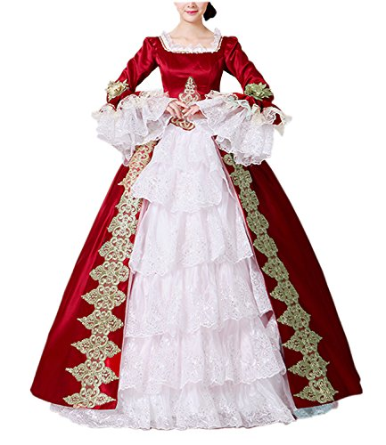 NuoqiDamen Satin Gothic Victorian Prinzessin Kleid Halloween Fancy Dress Cosplay Kostüm Party Maxi Kleid (38, CC3032A-NI)