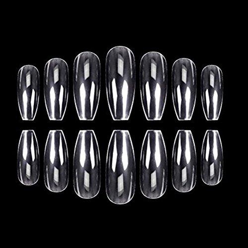 Acryl Falsche Nägel, Leegoal Klar Nagel Tipps Full-Cover künstliche falsche Nägel, 10Größen für Nail-Salons & DIY Nail Art - 500Stück (natürliche)